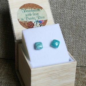 Cute Square-shaped Larimar studs sterling silver